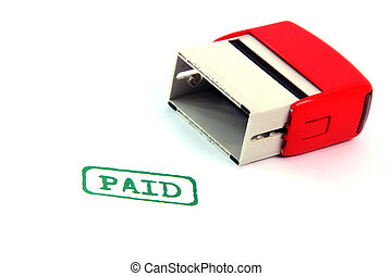 paid stamp - paid rubber stamp isolated on white background...
