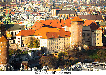 A birds eye view of Royal Wawel castle in Krakow, Poland