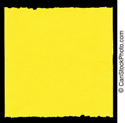 piece of yellow paper isolatd on black, edges are frayed