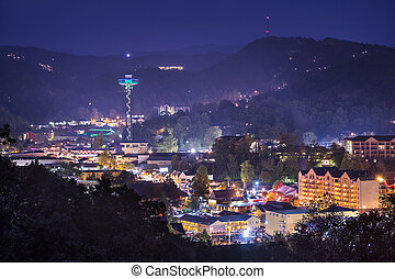 Gatlinburg, Tennessee in the Smoky Mountains.