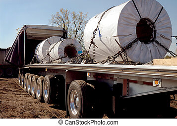 Steel Coils Trucking - Steel haulers in steelmill yard for...