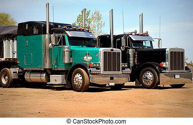 Steel Coils Trucking - Steel haulers in steelmill yard for...
