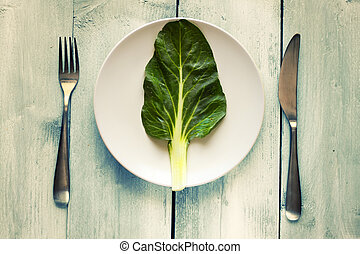 Healthy food - Photo of salad leave on a plate