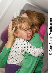 sad unhappy crying little girl
