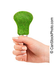 Concept Eco light bulb - Eco light bulb in hand isolated on...