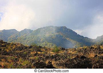 Etna - Mountain landscape with clouds, Etna, Sicily