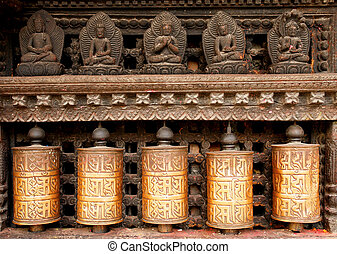 Prayer wheels at swayambhunath monkey temple in Kathmandu,...