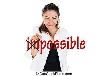Change impossible to possible - Business woman changing...