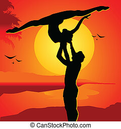 Beautiful couple on a sunset in passionate dance