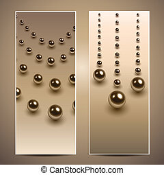 Banners with pearls, vector