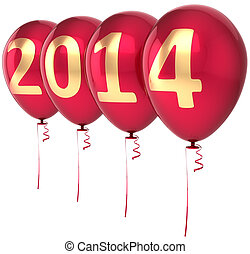 Happy New Year 2014 balloons party decoration. Celebration...