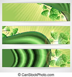 Eco Green Background With Leaves.