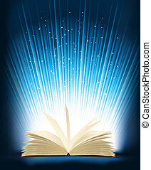 Opened magic book with magic light Vector illustration