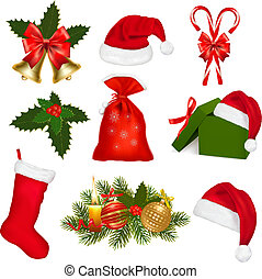 Set of Christmas objects. Vector illustration.