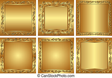 golden backgrounds - set of golden backgrounds