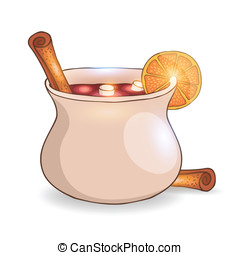 Mulled wine with cinnamon vector illustration - Mulled wine...