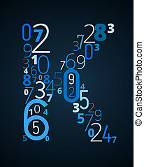 Letter K, vector font from numbers - Letter K, from...