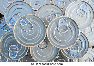 Canned goods stacked - Canned goods lids with pull rings