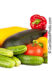 Zucchini courgette, sweet pepper and tomatoes isolated on...