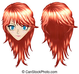 Anime girl with red hair - Beautiful red haired girl in...