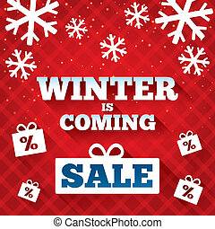 Winter is coming sale background. Christmas sale.