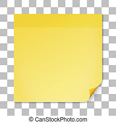 Yellow stick note on transparent texture backdrop - Yellow...