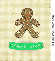 Gingerbread man and green ribbon on patterned background...