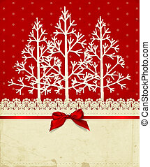 Christmas background - Old paper napkin with lace border,...
