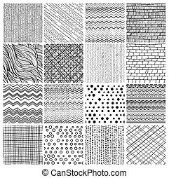 16 patterns - Set of 16 geometric seamless patterns and...