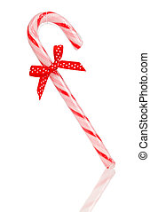 Christmas candy cane isolated on white background -...