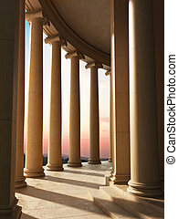 Column architecture with a sunset - Column architecture with...