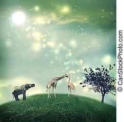 Giraffes and elephant on a hilltop - Giraffes and an...