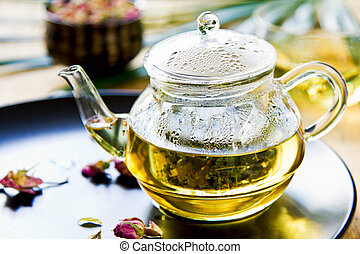 Herbal tea - Verbena,Mint and Rose buds as mix herbal tea in...
