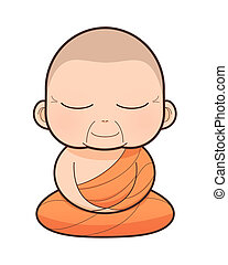 Buddhist Monk cartoon, illustration
