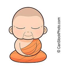 Buddhist Monk cartoon, illustration