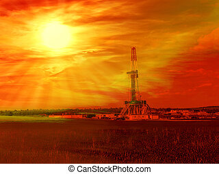 Gas Shale - Shale gas drilling with sunrise in the province...