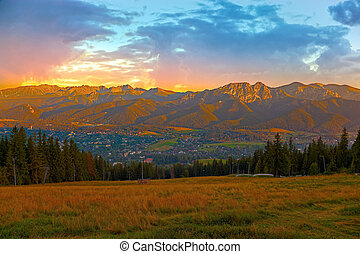 Polish mountains - Panorama Tatras Mountains at sunset,...