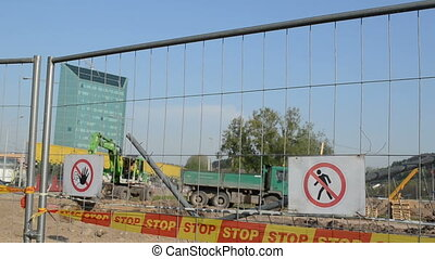 construction site warning - forbidden warning stop signs bar...