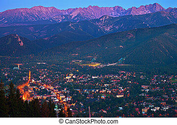 Zakopane at night - Zakopane view as seen from Gubalowka,...