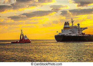 Ship at sunrise
