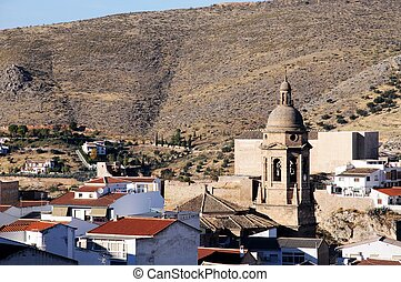 White town with church, Loja, Spain - View over the town...