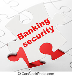 Security concept: Banking Security on puzzle background -...