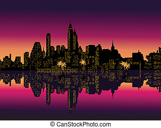 Mirror Purple Night City Palms. Vector Illustration.