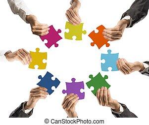 Trabalho equipe, integração, conceito