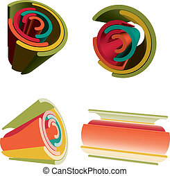Sets Of 3D Abstract Futuristic Vibrant Color Rainbow.