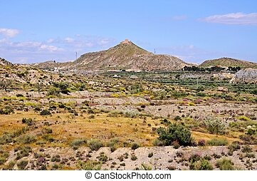 Desert landscape, Almeria, Spain. - View across the desert...