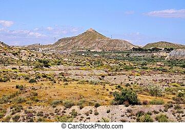 Desert landscape, Almeria, Spain. - View across the desert...