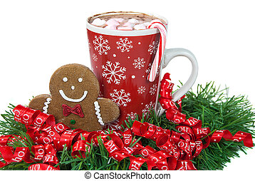 Christmas Gingerbread Man - Gingerbread man cookie with hot...