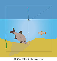 Fishing - Summer fishing with float Vector illustration...