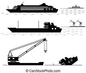 Silhouettes of ships at the sea. Vector illustration.